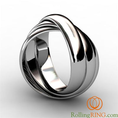 Sterling Silver 3 Band THICK Rolling Ring