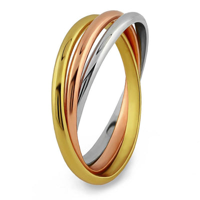 14K Solid Gold Tricolor THIN Rolling Ring - IN STOCK!
