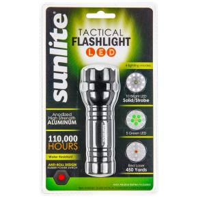 Sunlite 51003-SU LED Outdoor Tactical Flashlight, 4-Modes, Flashlight, Strobe, Green Light, Presentation Pointer, 3-AAA Batteries Included, Water Resistant