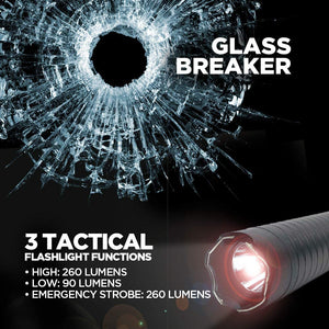 All-in-One, Maximum Voltage Concealed Stun Gun, and 260 Lumen Flashlight with Glass Breaker, Black