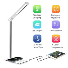 Load image into Gallery viewer, LED DESK LAMP WITH WIRELESS PHONE CHARGER