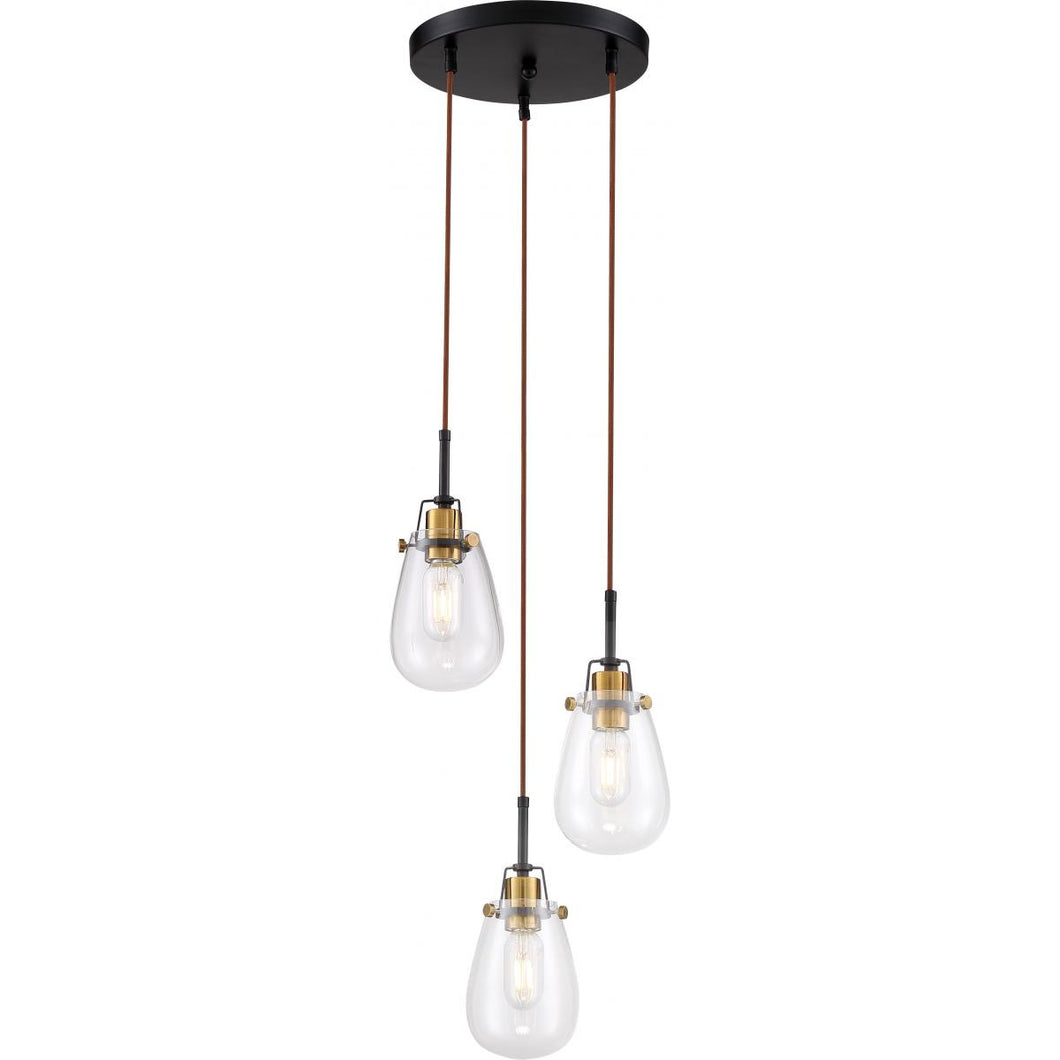 Toleo- 3 Light Chandelier - with Clear Glass-Black Finish with Vintage Brass Accents