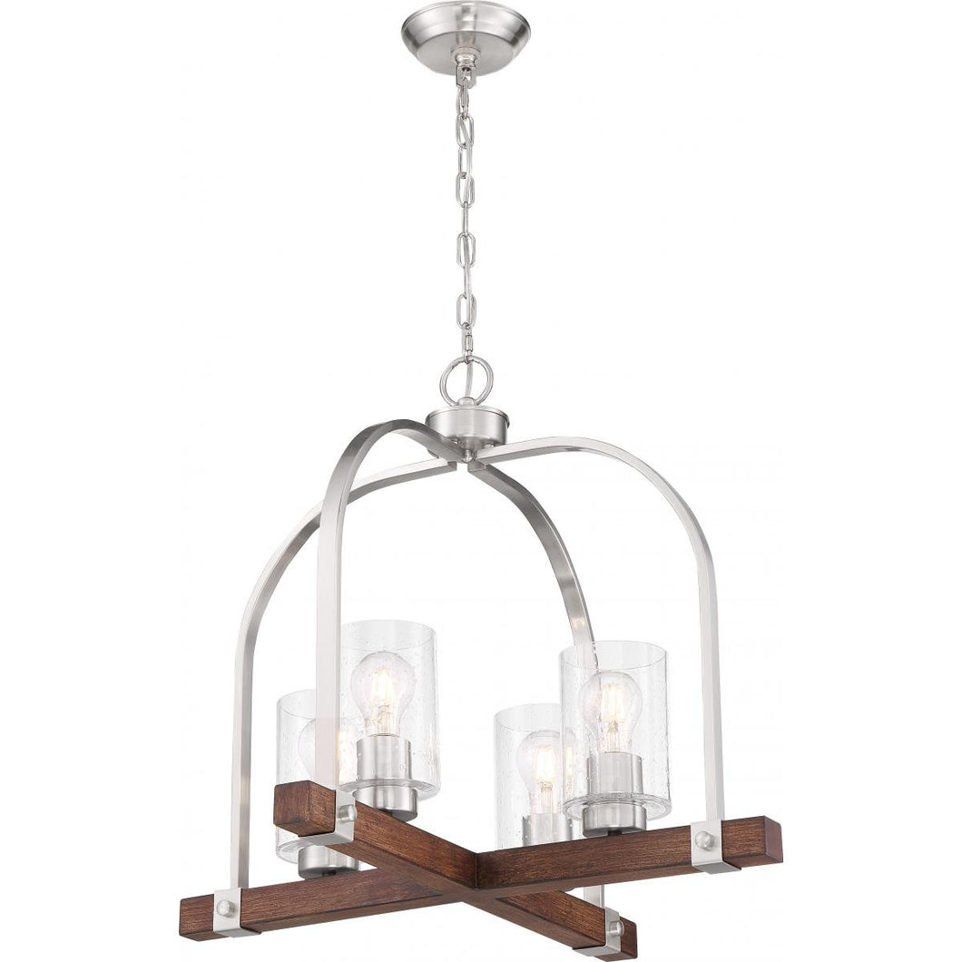 Nuvo AARABEL 4 LIGHT CHANDELIER with Clear Seeded Glass - Brushed Nickel and Nutmeg Wood Finish