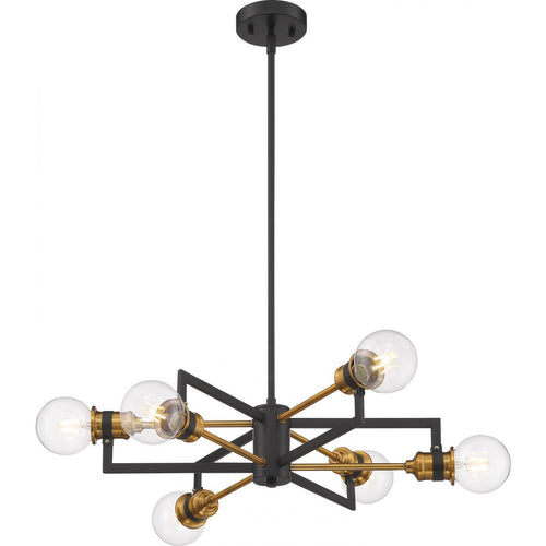 Nuvo Lighting Intention 6 Light Chandelier - Warm Brass and Black Finish