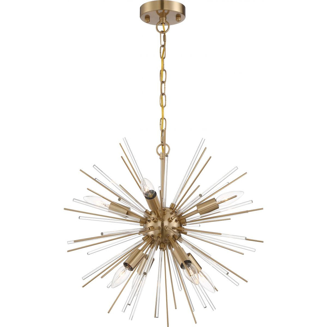 Nuvo Lighting Cirrus  8 Light Chandelier - with Glass Rods - Vintage Brass Finish