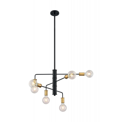 Nuvo Lighting Ryder - 6 Light Chandelier with Black and Brushed Brass Finish