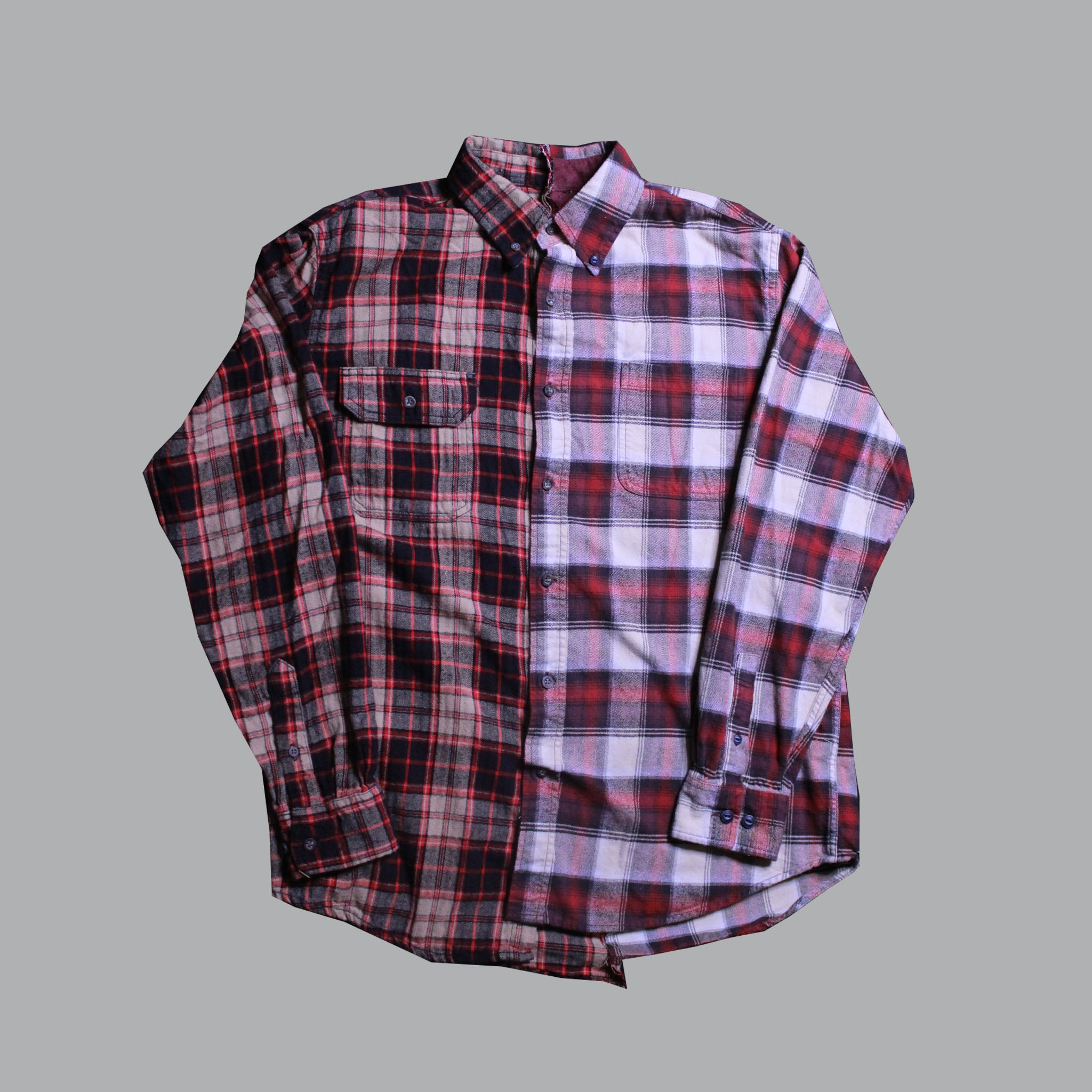 OTW Two Tone Red Brown Plaid Shirt