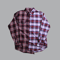 OTW Two Tone Red Brown Plaid Shirt (Large) - OTW Threads denim streetwear