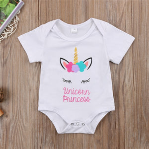 Unicorn Flower Bodysuit For Newborn Baby Cotton Short Sleeve