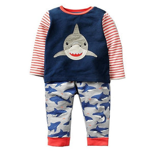 Boys Animal Applique Sweatshirt+Pants Clothing Sets