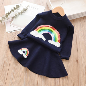 Rainbow Sequin Sweaters Pullover Full Sleeve Sweater + Skirt Kids Set