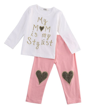 Baby GirlsT-shirt Tops + Long Pants Trousers 2pcs  Clothing Set