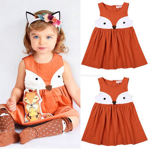 1-5Y Casual Baby Girls Clothes Cute Toddler Kids Fox Dress