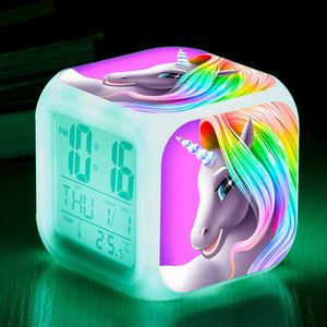 Kids Cute Cartoon Unicorn Alarm Clock with Thermometer