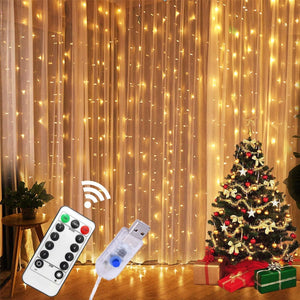 3M LED Curtain Lamp USB String Lights Remote Control Fairy Light Garland
