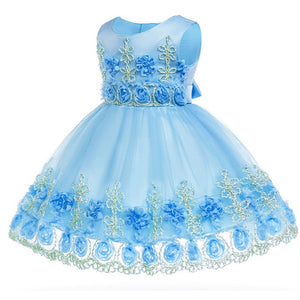 Baby girl dress lace flowers 0-2 years baby kids clothes birthday Princess party dress children tutu clothing