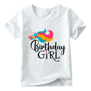 Girls Birthday Unicorn Number 1-9 Print T shirt