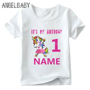 Girls Unicorn Number 1-11 Cartoon Print T-shirt Children Happy Birthday