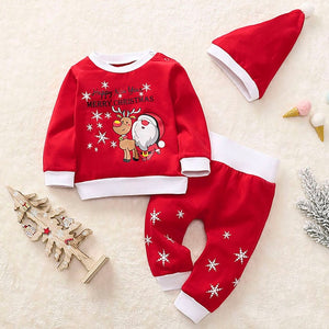 Newborn Clothes Baby Girl Clothes Baby Boy Clothes Christmas Cartoon Santa Plaid Print Pajamas Sleepwear Outfits+Hat Z4
