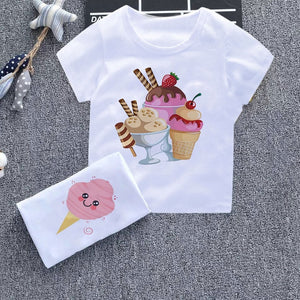 Cute Ice Cream Tee Shirt Fille Fun Fashion Boy T Shirts