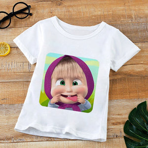 Round Neck Short Sleeve Clothes Cute girls Tshirt
