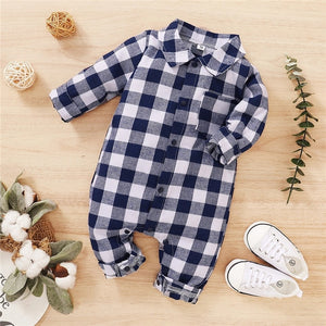 2020  Autumn Newborn Cotton Casual classic Plaid Collar Jumpsuit