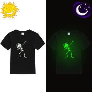 Skeleton Dancing Skull Hip Hop Kids Luminous Shirt