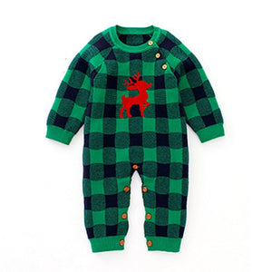 Winter Christmas Cartoon Deer Baby Boys Girls Long Sleeve Rompers