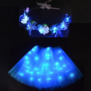 LED Party Light Tutu Glow Flower headbands Wreath Garland Fairy Girl Costume