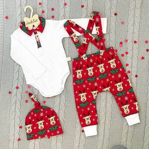 3PCS Newborn  Elk Pants Hat Xmas Outfits Set Clothes hot sale