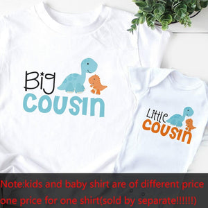 1pc Big/little Brother/cousin T-Shirts Dinosaur Cartoon Print Baby Romper