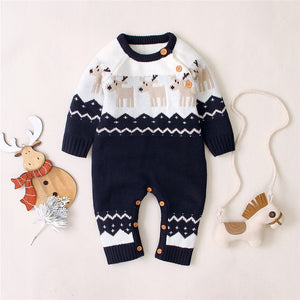 Infant Baby Boys Christmas Romper Reindeer Long Sleeve Elk Printed Pattern Jumpsuit for Boys Girls Clothes New Year's Costume