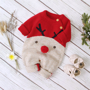 Baby Boys Christmas Rompers Reindeer Knitted Jumpsuits 0-2 year old