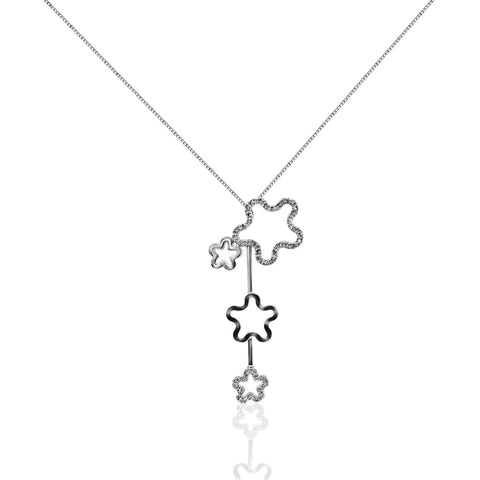 0.27 Carat Pave Diamond Drop Pendant In 14K White Gold Floral Stars By Luxinelle® Jewelry - Necklace