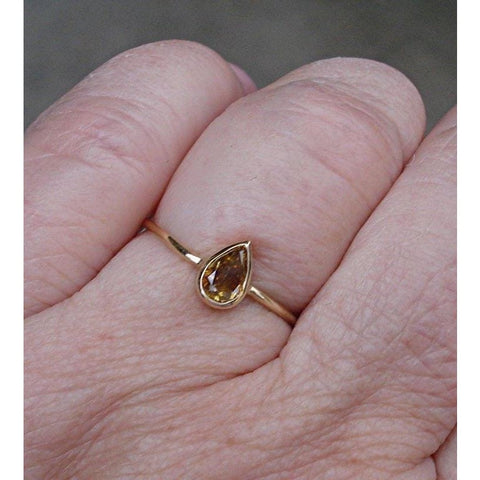 0.45 Carat Golden Brown Pear Cut Diamond Bezel Set Ring In 14K Yellow Gold By Luxinelle® Jewelry - Ring