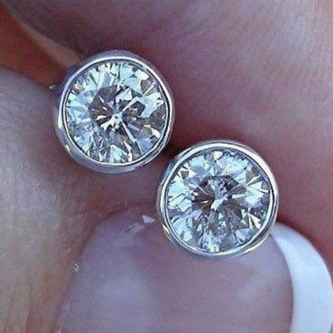 Image of 0.50 Half Carat Bezel Set Diamond Stud Solitaire Screwback Earrings - 14K Yellow Rose White Gold Wardrobe Staple - Earrings