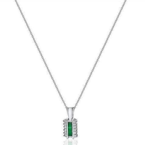 Image of 0.91 Ctw Emerald And Diamond Pendant 14K White Gold - Green Princess Cut And Round Drop Pendant By Luxinelle® Jewelry - Necklace