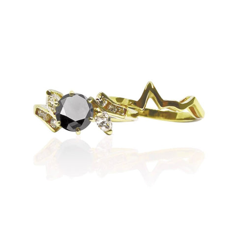 1.52 Carat Black Diamond Engagement In Marquise And Round Diamond Setting With Custom Matching Band 14K Yellow Gold By Luxinelle® Jewelry -