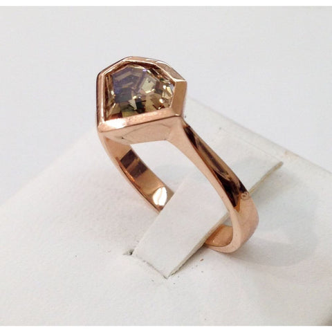 Image of 1.54 Carat Natural Brown Geometric Diamond Bezel Handmade Ring - 14K Rose Gold By Luxinelle® Jewelry - Ring