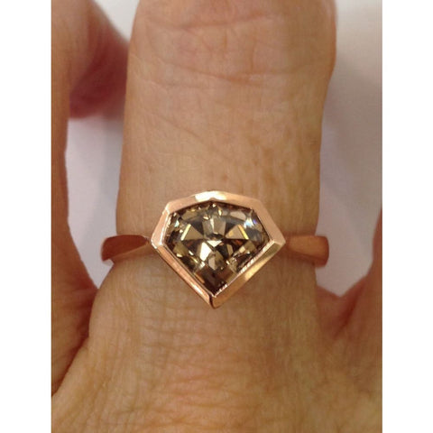 1.54 Carat Natural Brown Geometric Diamond Bezel Handmade Ring - 14K Rose Gold By Luxinelle® Jewelry - Ring