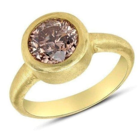 1.6 Carat Golden Pink Round Diamond Bezel Ring In 18K Matte Yellow Gold Handmade Ring By Luxinelle® Jewelry - Ring