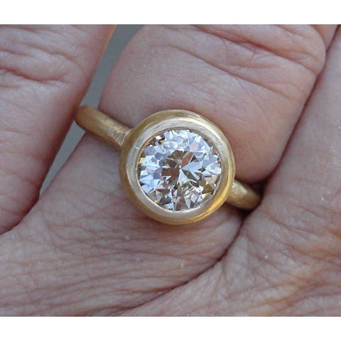 Image of 1.6 Carat Golden Pink Round Diamond Bezel Ring In 18K Matte Yellow Gold Handmade Ring By Luxinelle® Jewelry - Ring