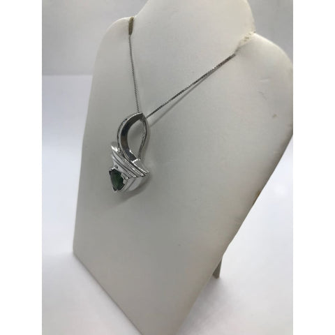 1.69 Carat Green Tourmaline And Diamond 14K White Gold Twist Pendant On A Chain By Luxinelle® Jewelry - Necklace