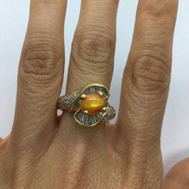 1 Carat Opal And Baguette Diamonds 14K Yellow Gold Statement Ring 2.06 Ctw By Luxinelle® Jewelry - Ring
