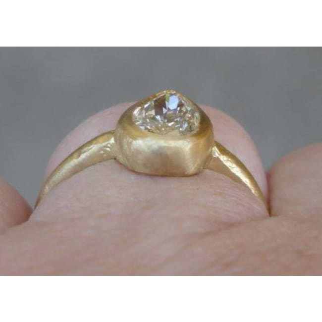 1 Carat Pear Diamond Engagement Ring - Minimalist Bezel Set Ring In 18K Matte Yellow Gold By Luxinelle® Jewelry - Ring