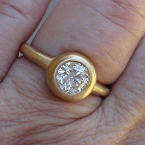 Image of 1 Carat Round Diamond Engagement Ring In 18K Matte Yellow Gold By Luxinelle® Jewelry - Ring