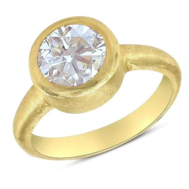 1 Carat Round Diamond Engagement Ring in 18K Matte Yellow Gold by  Luxinelle® Jewelry