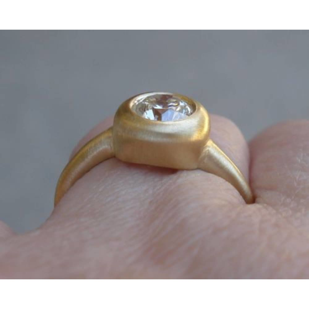 1 Carat Round Diamond Engagement Ring In 18K Matte Yellow Gold By Luxinelle® Jewelry - Ring