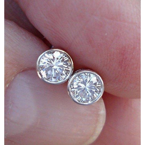 1/2 Carat Diamond Bezel Earrings - Si G/h 14K White Rose Or Yellow Gold By Luxinelle - Earrings