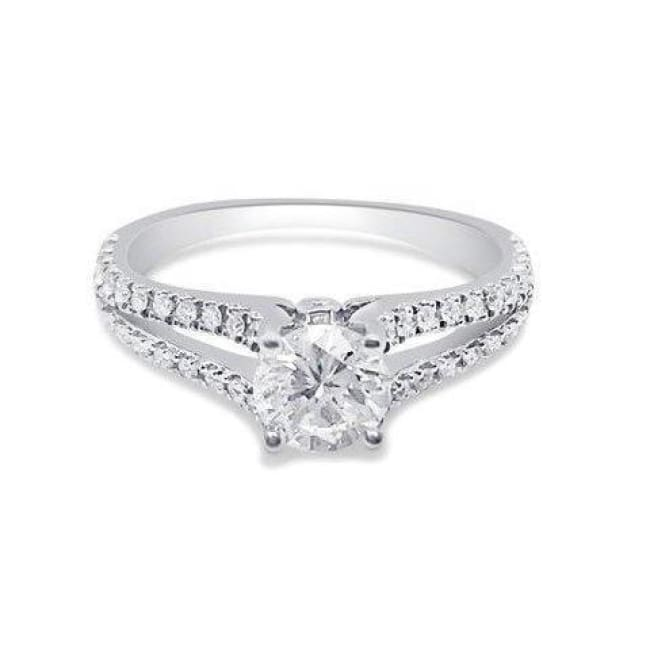 1/2 Carat Diamond On A Split Shank Micro Pave Diamond Engagement Ring Gia Certified 0.43 Carat H Si1 By Luxinelle® Jewelry - Ring